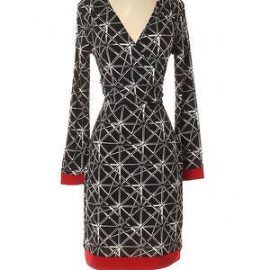 4 Nicole Miller Geometric Dress Faux wrap dress
